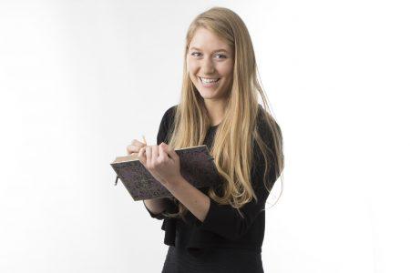 Gabby Ferro holding a book