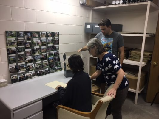 Connor Smith '19 and Dani Grandinetti '21 work with Mount Vernon Historic Preservation Commission member Mary Evans