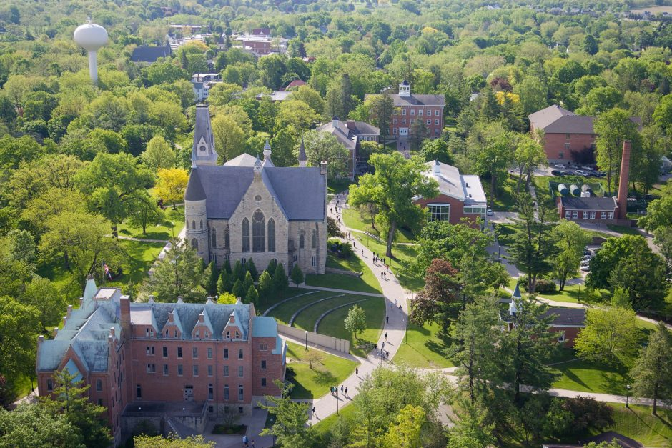 Aerial spring photo of the Cornell College campus