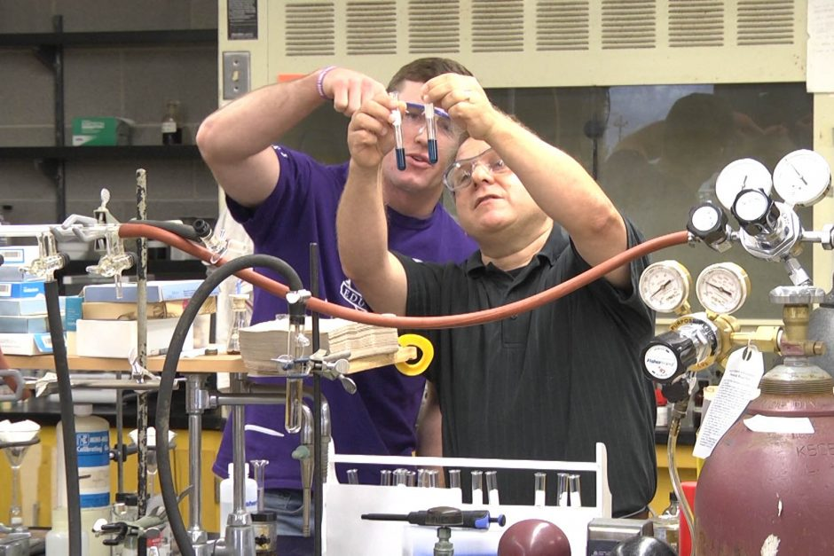 Ben Hewson '19 with Professor Charley Liberko in the chemistry lab during the Cornell Summer Research Institute