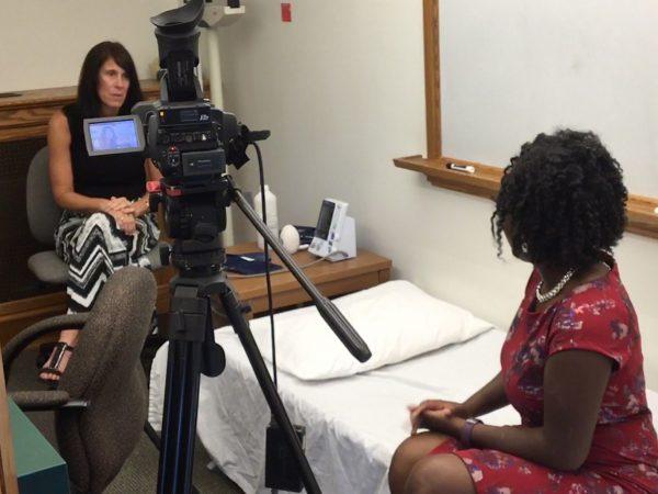 Melinda Green getting interviewed by CBS2 reporter