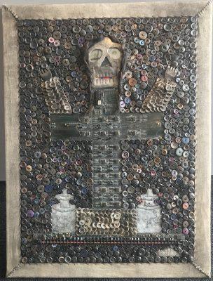 """""""Baron La Croix"""" by David Boyer, Haiti. buttons, circuit, metal. c. 2014"""