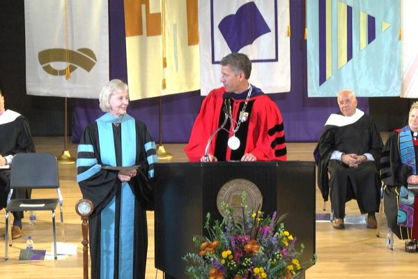 Cornell College presents Dorothy Ashbacher Lincoln-Smith '58 with the 2018 Distinguished Achievement Award during Homecoming Weekend.