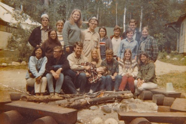Preston Sitterly '69 (front row, second from left), Julie Munger LaFollette (center of front row) and Steve LaFollette '69 (directly behind Julie) during an Associated Colleges of the Midwest field camp near Ely, Minnesota, in 1968.