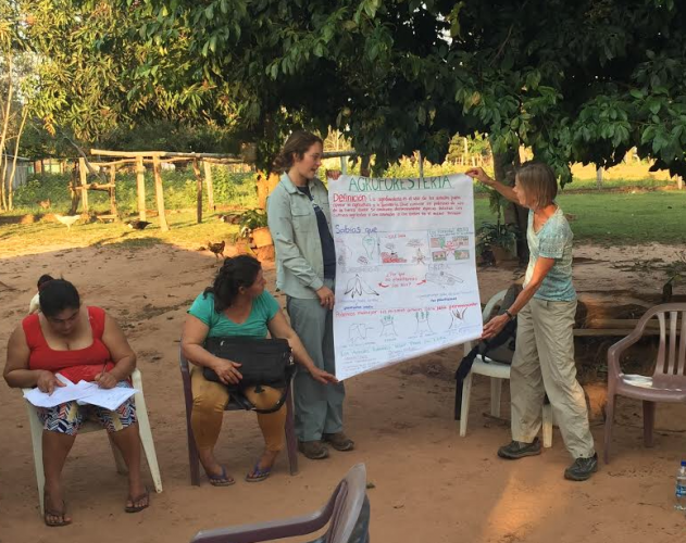 Carly Pierson '17 (standing, center) teaches agroforestry to farmers in Paraguay.