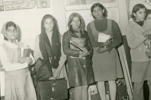 Corrie Root Grummon '70 (middle) started a lifelong passion for Middle East issues when she and Stephen Grummon '69 traveled to Iran to teach English as a second language.