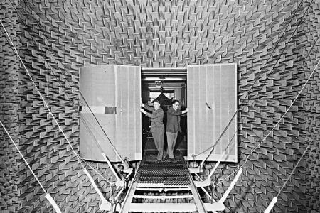 Leo Beranek's 1943 anechoic audio test chamber.