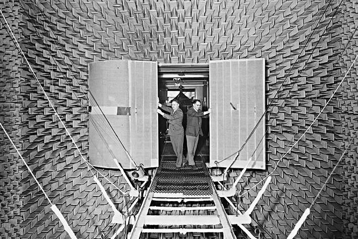 Leo Beranke's anechoic audio test chamber.