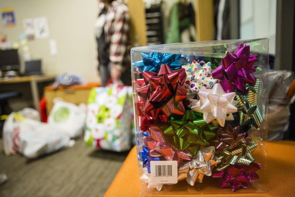 Brightly-colored holiday bows