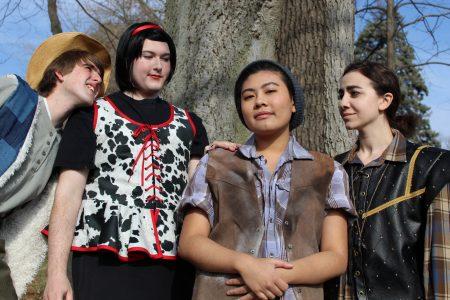 (Pictured left to right) Allan Moore '21 (Silvius), Robbie Littlefield '21 (Phoebe), Kati Yau '21 (Rosalind), and Jenna Makkawy '21 (Orlando)