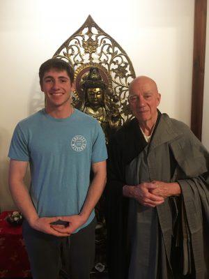 John Michael Osley '20 and Head Abbot Shoken