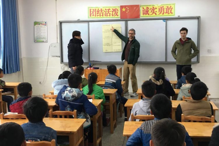 Professor Knoop teaches class in China.
