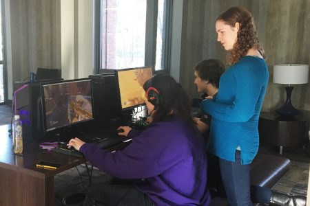 Students playing a game on their computers
