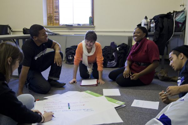 Education students rehearse lesson plans with classmates as part of an Education Practicum course.