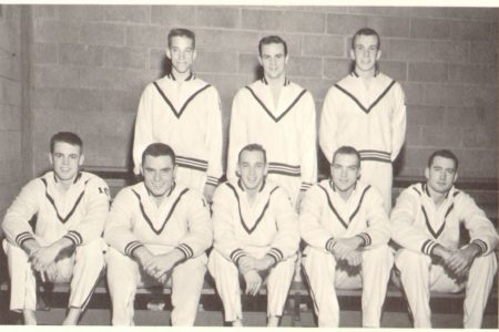John Beamer '61 with the swim team (lower right)
