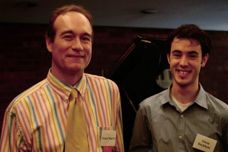 Professor of Music James Martin and alumnus Owen Dockham