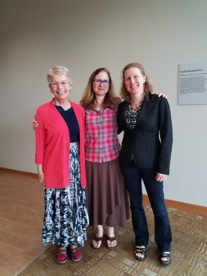 Tamara Malmberg Andrews '80 (left), Professor of French Devan Baty, and Associate Professor of French Rebecca Wines
