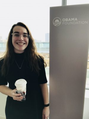 Lizzie Mombello in the Obama Foundation office