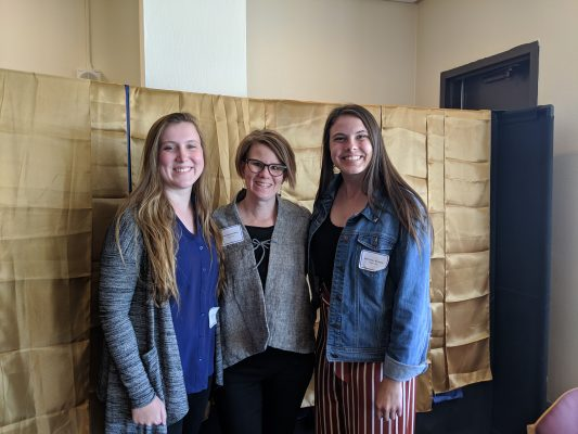 Paper winners Allison Krull '20 (left) and Brittney Starks '20 with Associate Professor Tori Barnes-Brus
