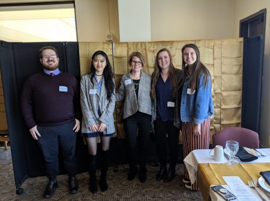 (pictured left to right) Zach Shoulders '20, Angie Zhao '20, Associate Professor Tori Barnes-Brus, Allison Krull '20, and Brittney Starks '20