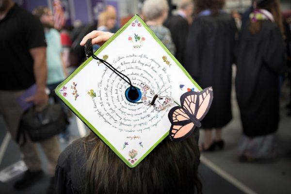 mortarboard with monarch