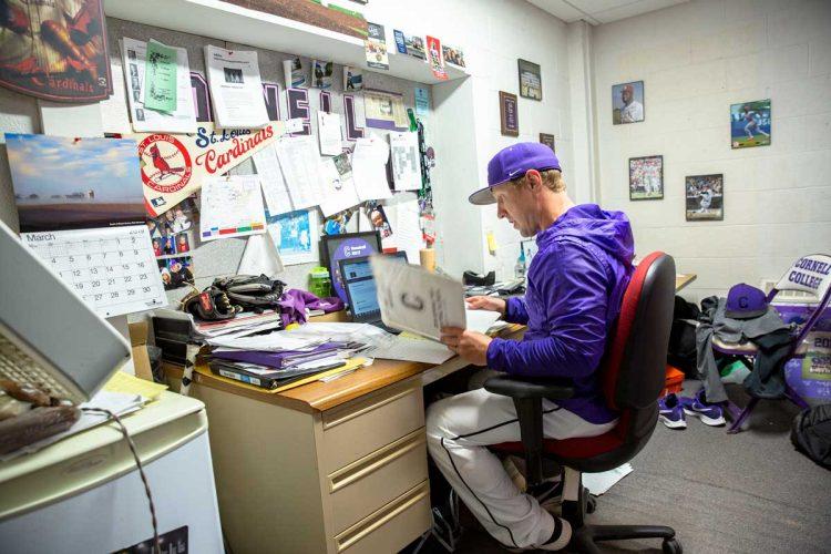 Seth Wing at his desk