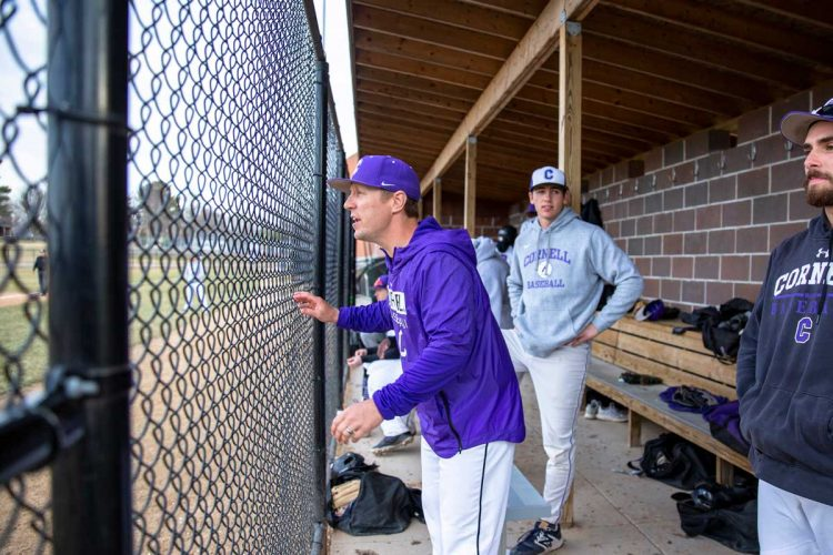 Seth Wing in the dugout
