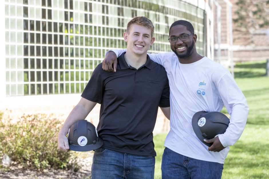 Zach Yankovich ՚19 (left) and Milton Spradley ՚19 in front of the Small Multi-Sport Center a few weeks prior to their commencement. Both call Florida home and the internship program brings them back to the sunshine state.