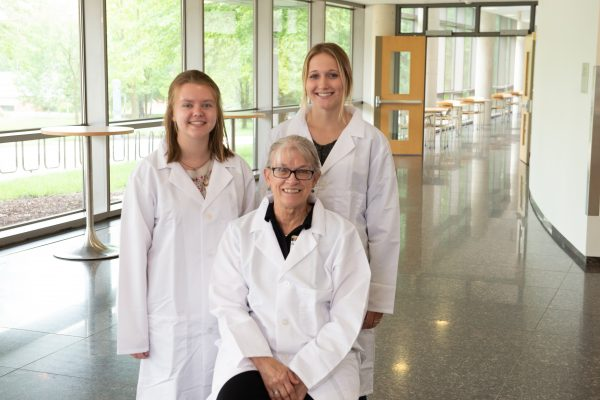 Zoe Randall (left), Barbara Christie-Pope (center), and Sydney Meeker (right) (Photo Courtesy: University of Iowa)