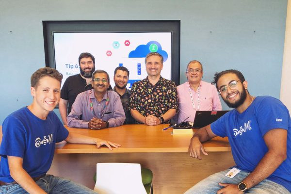 Nick Adamou (left) and the IBM team he worked with during his internship