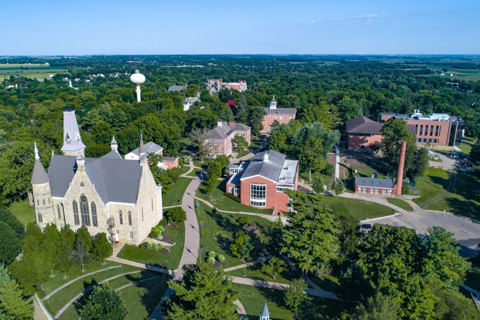 Aerial of campus summer 2019