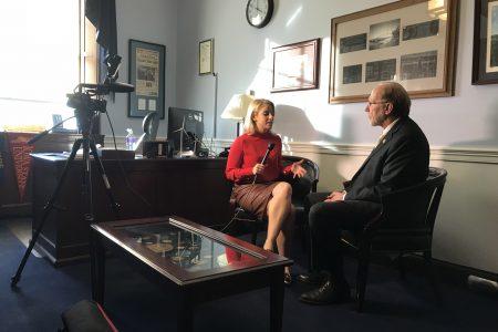 Congressman Dave Loebsack getting interviewed by a reporter