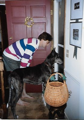 Tim Wynes and his dog Hayley hand out treats to trick-or-treaters.