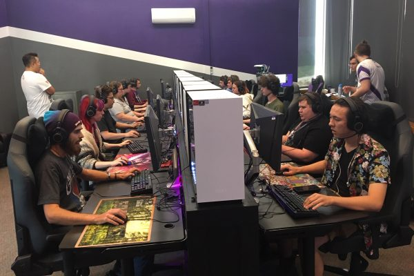 The Cornell esports arena is filled with 12 state-of-the-art gaming computers, screens, and peripherals suitable for intercollegiate gaming competitions.