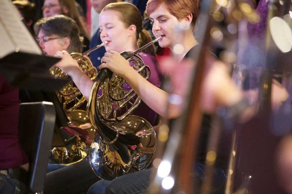 The Symphonic Band and JazzLab Ensemble will present a joint concert at 7:30 p.m. Friday, Nov. 1, in King Chapel.