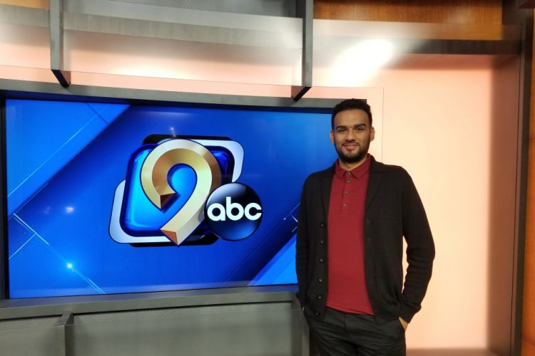 Junior Jonathan Lopez at the KCRG-TV9 studios.