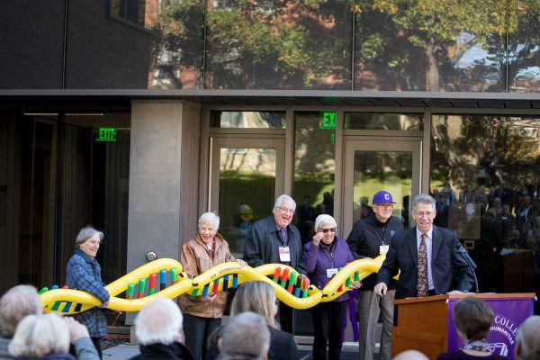 "With the cutting of a ""DNA ribbon,"" Cornell dedicated Russell Science Center and celebrated the completion of its $35 million Science Facilities Project."