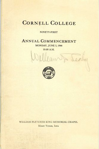 Admiral Leahy autographed this copy of the 1944 Cornell Commencement program. Courtesy of the Cornell College archives.