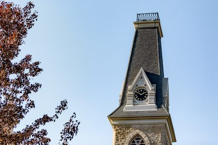 Photo of the King Chapel bell tower on the Cornell College campus