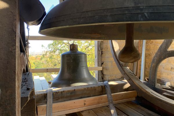 Picture of two historic bells in the King Chapel clock tower