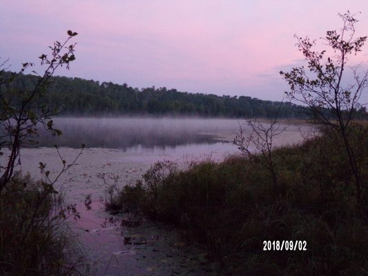 Photo taken by Natalie Bradshaw during wilderness course that features the foggy lake.