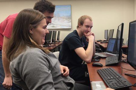 Geology students working at computers