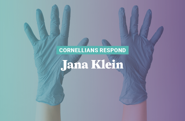 Jana Klein, chemical stockroom manager in Russell Science Center, organized the donation of the college's unused gloves to support health care workers.