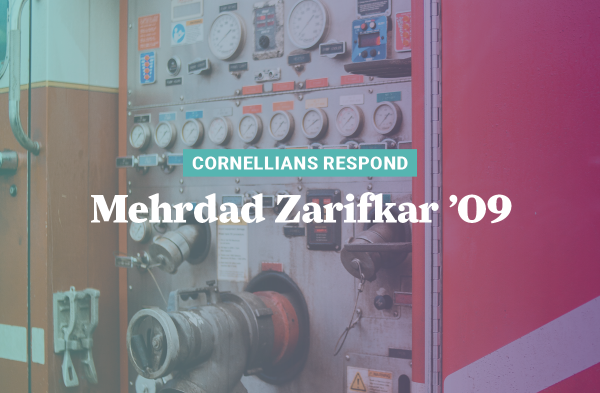 Mehrdad Zarifkar '09 is a captain on the Mount Vernon, Iowa, fire department and says they were pleased at Cornell College's quick response to the pandemic.
