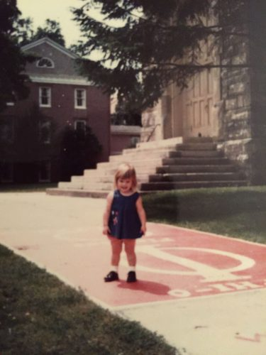 "Ilene Crawford stands before King Chapel as a toddler during a campus visit with her parents, Nancy Charleston Crawford '69 and Marlin ""Jack"" Crawford '69."