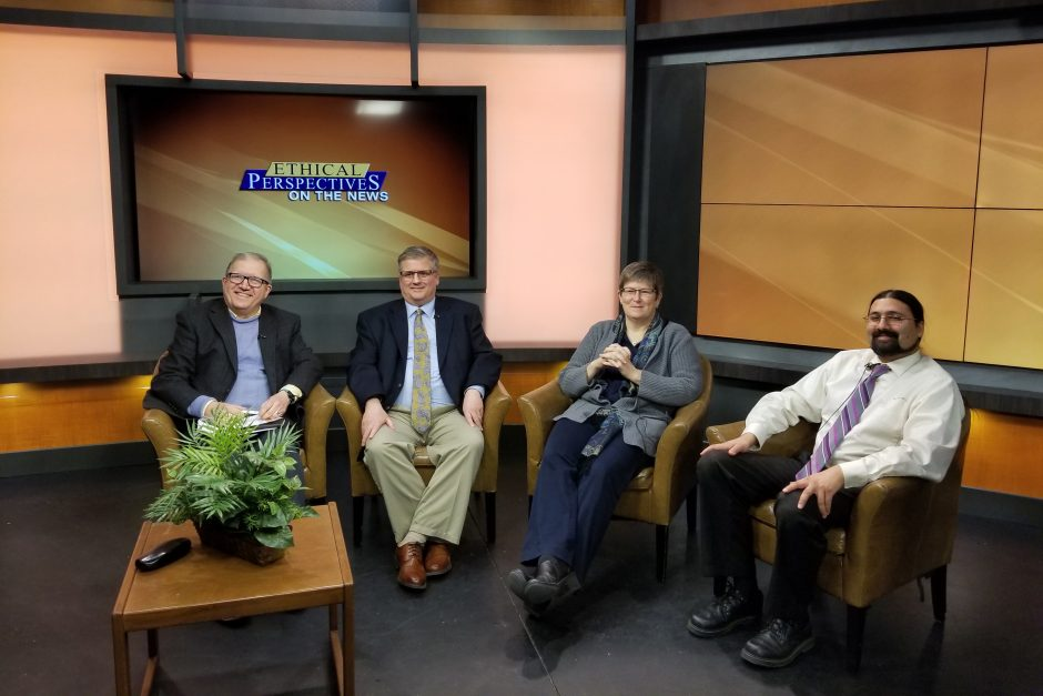 """Panel members on the set of """"Ethical Perspectives on the News"""""""