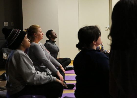 A class session of the adjunct course, Mindfulness, Meditation & Psychological Health during the spring 2020 semester.