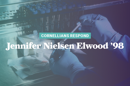Graphic with Jennifer Nielsen Elwood's name and hands with gloves working on scientific research