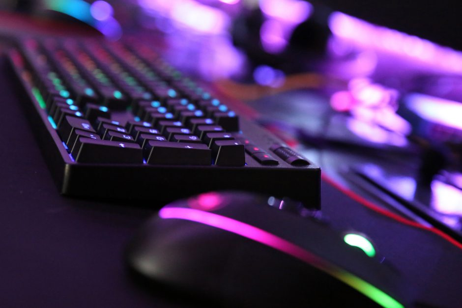 mouse and keyboard with colorful lights