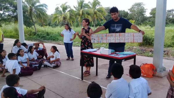 Middle school students in the Maya town of Calotmul, Yucatan, Mexico learn about the Dresden Codex, an ancient Maya book.